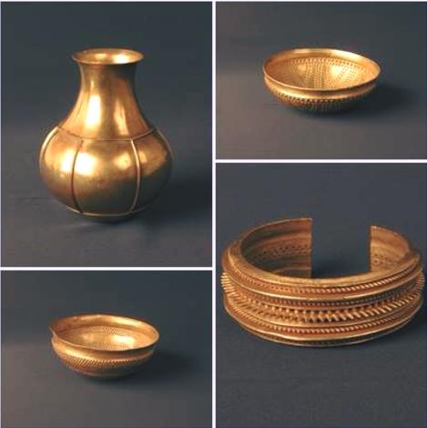 Las 4 piezas del Tesoro de Villena prestadas al Museo Arqueológico Nacional. Captura de pantalla del Facebook del MAN